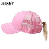 JNKET Fashion Ponytail Baseball Cap Women Sunhat Mesh Cap Baseball Hat Snapbacks Hats Outdoor Sports Summer Hat Ponytail Hat Q0703