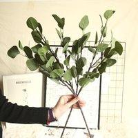 الحرير الاصطناعي أوراق الأوكالبتوس الأخضر أوراق الزفاف الديكور diy اكليلا هدية سكرابوكينغ الحرفية أبل النباتات وهمية زهرة الزخرفية f