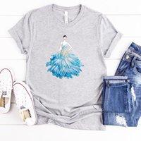 Harajuku Moda Tasarım Tees Çiçek Petal Elbise Çizim Baskı Kız T-Shirt Kadın Pamuk Kısa Kollu Tshirt Kadınlar Kadınlar