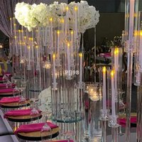 Party Decoration 10 Arms Long Stemmed Modern Clear Acrylic Tube Hurricane Crystal Candle Holders Wedding Centerpieces by sea LLB11034