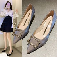 Dress Shoes Fashion Banquet Women's High Heels Shallow MouthPpointed Toe Rhinestone Single Ladies Luxury Design