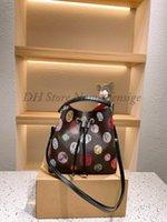 네오노 패션 정품 가죽 버킷 가방 여성 유명한 Drawstring 핸드백 꽃 인쇄 크로스 바디 쇼커 가방과 지갑