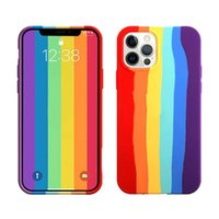 fashion Original Liquid silicone with logo luxury packaging rainbow phone case for iPhone 11 xr xs 7 8 12 pro max candy solid color box