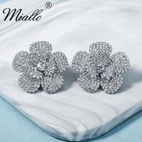 Stud Miallo Fashion Flower Rhinestone Earrings For Women Accessories Silver Color Bridal Wedding Earings Party Jewelry Gifts