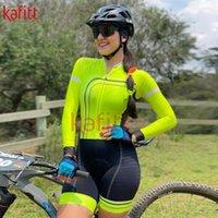 Racing Sets KafiWomen's Triathlon Long Sleeve Cycling Wear Outdoor Sports Jumpsuit Bib Back Pocket MaillotMacaquinho Sweatshirt