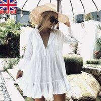 Women Boho Shirts Dresses Summer Loose V Neck Solid White Turn-down Blouse Shirt Dress Swimwear Cover Up Beach Wear
