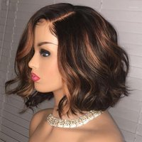 Wavy Highlight Blonde Brown 13X6 Lace Front Human Hair Wigs Short Bob Pre Plucked 360 Frontal Silk Base Full Wig U Part Wig1