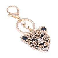Съемки Chickains Chieloys Leopard Keychain Ключевые Цепсы Металлические Кристаллическая Цепочка Клавиатура Очарование Сумка Подвеска Подарок Оптовая Цена KC026