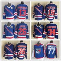 Vintage CCM New York Rangers 75th 13 Sergei Nemchinov 18 Walt Tkaczuk 26 Joe Kocur 34 John Vanbiesbrouck 36 Anderson Esposito Hockey Jerseys
