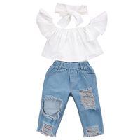 Pudcoco us Stock Mode Kleinkind Mädchen Kinder 2-6 Jahre Kleidung Set Schultertops Denim Hosen Jeans Outfits Set Kleidung 1-6Y