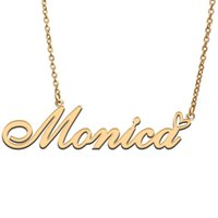 Pendant Necklaces Monica Love Heart Name Necklace Personalized Gold Plated Stainless Steel Collar For Women Girls Friends Birthday Wedding G