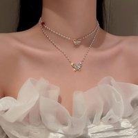 Collares colgantes exquisitos de doble capa perlas cadena circonia mariposa colgantes gargantilla collar regalo de boda para mujeres novias joyería