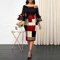 Casual Dresses OTEN Women Bodycon Party Dress Contrast Color Off Shoulder Ruffles Long Sleeves Slim Evening Dating Robes Female Tunics Vesti