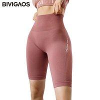 BIVIGAOS Yeni Mektubu Yüksek Bel Şort Hızlı Kurutma Kalça Yukarı Seksi Biker Şort Fitness Kısa Yüksek Streç Spor Şort Kadınlar