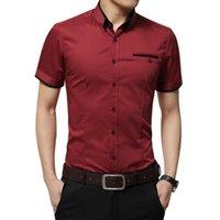 رجل جديد وصول الصيف قميص الأعمال قصيرة الأكمام رفض طوق سهرة قميص الذكور القمصان زائد size_yw_xj