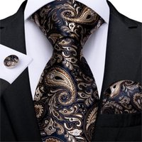 Bow Ties Men Tie Gold Blue Paisley Wedding For Hanky Cufflinks Silk Set Party Business Fashion DiBanGu Designer MJ-7249