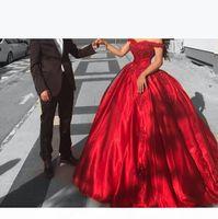 Princess Red Ball Gown Prom Dresses Off Shoulder Appliques Beaded Satin Quinceanera Dresses 2018 Arabic Dubai Engagement EVening Party Dress