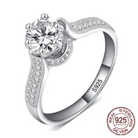 Original 925 Silver Wedding Rings Brand Design Fashion Charm Sparkling Ten Hearts Clear Zircon For Women Engagement Jewelry J-019