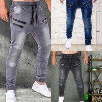Jeans casual da uomo in stile europeo jeans slim-fit jeans uomo con cerniera tasche con coulisse in esecuzione pantaloni skinny pantaloni da jogger pantaloni