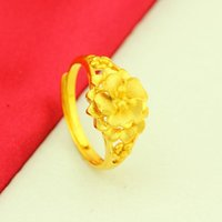 Gold plated jewelry Brass wedding sand-gold orchid ring imitated-gold couple rings for men and women [Store Opening]