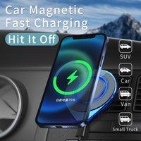 Chargeur de voiture sans fil de haute qualité F8 Chargeur de voiture sans fil Magsafing 15W monture de montage rapide Chargeurs de téléphone portable Luminous pour iPhone 12 mini pro Max