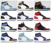 1 Üniversite Mavi Karanlık Mocha Kraliyet Toe Bred Toe Yasaklı 35th Yıldönümü Çizmeler Ayakkabı Erkekler 1s Obsidian Turbo Yeşil Sneakers