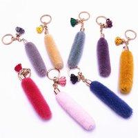 Netter Pompom Anhänger Keychain Forwomen Künstliches Kaninchen Pelz Plüsch Schlüsselanhänger Charme Quasten Auto Schlüssel Ketten Tasche Schmuck Geschenke