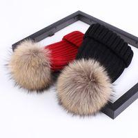 Höst vinter hatt baby och barn koreanska versionen förtjockad varm stickad hatt tvättbjörn hund hår boll keps
