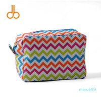 Designer Classic Stylish Multi-colors Chevron Cosmetic Bag Zigzag Polyester Women's Makeup Bags DOM001