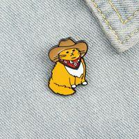 만화 크리 에이 티브 서양 카우보이 고양이 브로치 여자에 대 한 귀여운 작은 노란색 키티 배지 모자 페인트에 나 멜 핀 데님 셔츠 가방 액세서리 키즈 친구 선물
