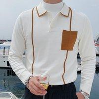 Black Casual Shirt Men Modalità Homme Britannico Contrasto Colore Tricottato Polera Hombre Uomini Risvolto a maniche lunghe Camicia bianca a maniche lunghe 1