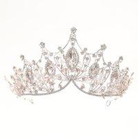 Taç Kristal Prenses Alaşım Rhinestone Malzeme Uzun Ömürlü Renk Tutma Firma Gelinlik Aksesuarları Kafa Gelin Taç Gelin Je
