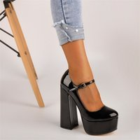 OnlyMaker Womens Mary-Jane Platform Chunky 15 ~ 16cm High Pumps Heels Knöchelband Kleid Huf Heels Black Schuhe plus Größe 210408