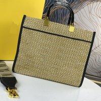 Gewebte Tasche Einkaufstasche Große Kapazität Packung Handtasche Lafite Gras Abnehmbarer breiter Schultergurt Signature Twist Lock
