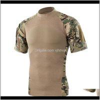 Homens Verão Ao Ar Livre Caminhada Camping Exército Tático Esporte Verde T-shirt Camuflagem De Manga Curta T-shirts 3WCCW WVTJQ
