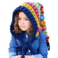 Caps & Hats Kids Winter Wool Handmade Crochet Beanie Hat Children Warm Knitted Rainbow False Collar Hooded Cap Boy Girl Xmas