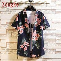 Men's Casual Shirts Zongke Floral Print Harajuku Shirt Men Clothing Male Tops Japanese Streetwear Hip Hop Clothes M-5XL 2021 Arrivals