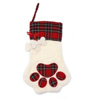 Christmas Stockings Socks Candy Stocking Hanger Toys Gift Bags Bear paw snowflake Sock Xmas Tree Ornaments Decoration BWB8842
