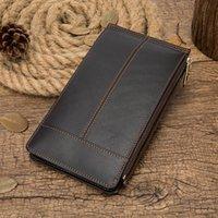 Wallets Vintage Men Leather Wallet Genuine Purse Double Zipper Money Clutch Coin Pocket Phone Case 8707
