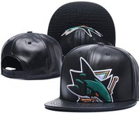 New Caps Sharks Hockey Snapback Leather Hats Black Color Cap Football Baseball Team Hats Mix Match Order All Caps Top Quality Hat