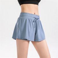 Lulu shorts women's light proof high waist loose Yoga Pants fast dry Breathable running mesh fitness pants 1838
