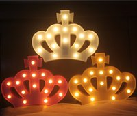 LED Light Night Novelty Plastic Crown Marquee Sign Kids Bedroom Desk Lamp Children Christmas Gifts Party Wedding Decor Lighting