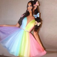 Colorful A Line Short Homecoming Dresses V Neck Crystal Belt Mini Birthday Party Gown Ruched Tulle Rainbow Cocktail Dress