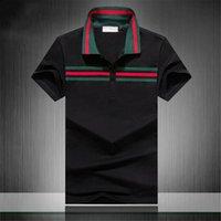 Новая мода классическая мужская полосатая рубашка с вышивкой хлопок мужская футболка белый черный синий дизайнер рубашка поло мужчины M-3XL