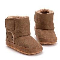 أول مشوا الطفل القطن الأحذية لينة سوليد الأحذية الشتاء لعدم الانزلاق طفل دافئ