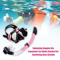 Diving Masks Durable Snorkel Set For Adults Ergonomic Wide Angle Panoramic View Snorkeling Gear Waterproof Swimming Goggles Dry Foldable Tub