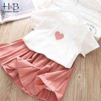 Humor Bear Girls Clothing Set Summer Korean Cute Fruit Sleeveless T-shirt+ High Waist Skirt Kids Suit Toddler Baby Girl Clothes 210430