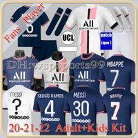 قمم ميسي Mbappe Paris Soccer Jerseys Hakimi Sergio 21 22 Maillots de Football Shirt 2021 2022 Marquinhos Verratti Men + Kids Kit Oryms enfants mailleot القدم الرابعة