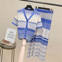 Runway Bohemian Hollow Out Knitted Women Suits Female Short Sleeve Top Striped Sweater Suit Ladies Two-piece Sets 210603
