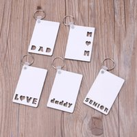 Sublimation Blank Keychain Square Wooden Key Pendant Thermal Transfer Keychain Ring White DIY Party Favor Gift